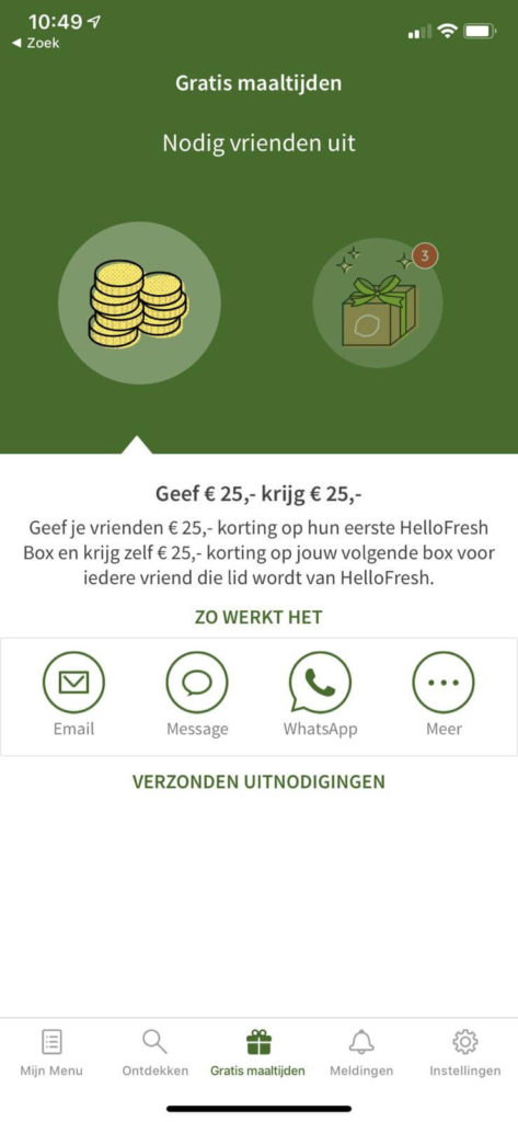 gratis maaltijdbox weggeven in hellofresh app